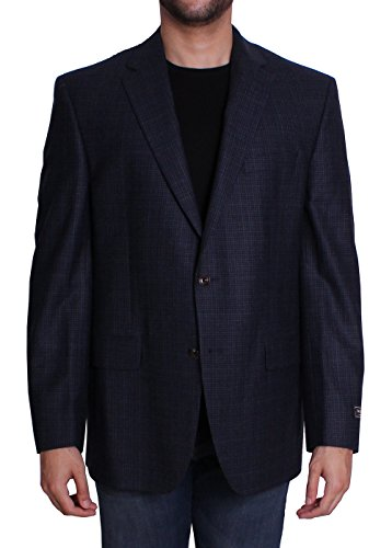 Jack Victor Males's Wool Lengthy Sleeve Gingham Plaid Button Entrance Blazer Sportcoat in Blue