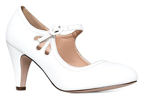 - OLIVIA K Women's Kitten Heels Mary Jane Pumps - Adorable Vintage Shoes- Unique Round Toe Design With An Adjustable Strap,White,7 B(M) US