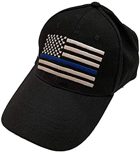 Lot of 12 Thin Blue Line USA Police Memorial American Black Embroidered Cap Hat