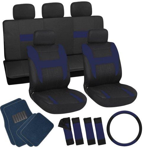 OxGord 21pc Black & Blue Flat Cloth Seat Cover and Carpet Floor Mat Set for the Suzuki Esteem Sedan, Airbag Compatible, Split Bench, Steering Wheel Cover Included