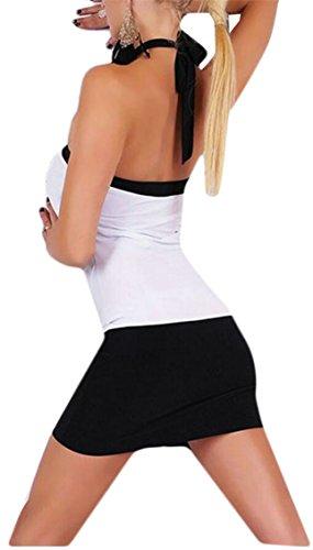 Jaycargogo Femmes Sangle Sexy Dos Nu Bustier Dos Nu Clubwear Mini Robe Moulante Blanche