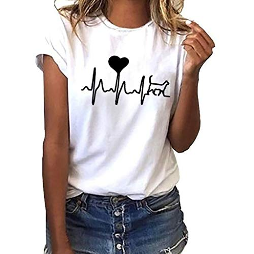 Women Cuffed Short Sleeve T Shirts Junior Funny Heart Printed Graphic Tops Teen Girls Casual Loose O Neck Tees (White-1, L) ()