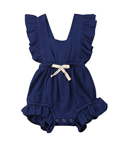Qiylii Infant Baby Girl Ruffle Sleeve Romper One-Piece Bowknot Cotton Bodysuit Jumpsuit Outfit Clothes (18-24 Months, Navy Blue)