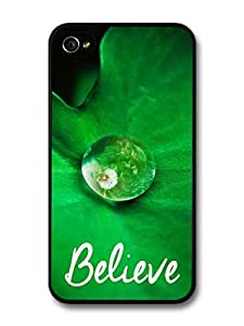 iphone covers Believe Inspirational Quote Water Drop On A Leave Close Up In A Cool Style case for Iphone 5c