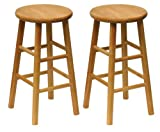 24 Inch Bar Stools with Back Winsome Wood Wood 24-Inch Counter Stools, Set of 2, Natural Finish