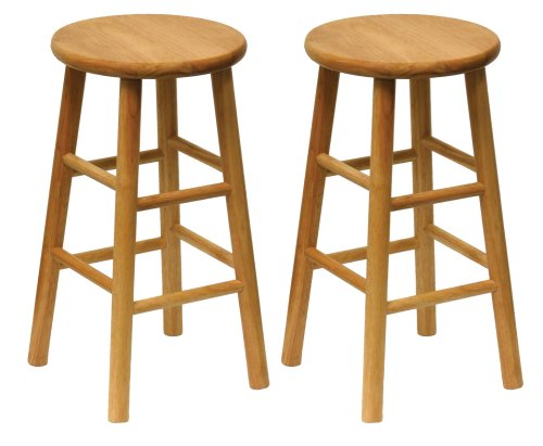Winsome Wood Wood 24 Inch Counter Stools Set Of 2 Natural Finish