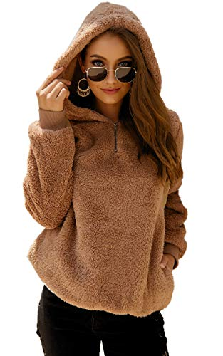 Angashion Womens Sweatshirt - Long Sleeve 1/4 Zip Up Faux Fleece Pullover Hoodies Coat Tops Outwear with Pocket 169 Khaki M