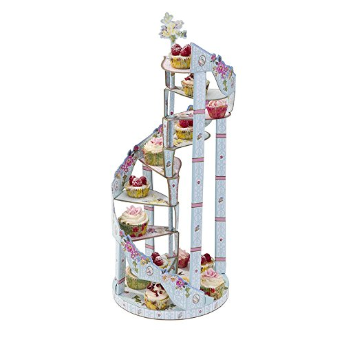 Talking Tables Truly Scrumptious Floral 3 Tier Spiral Cake Stand for a Tea Party, Mixed