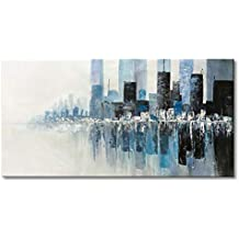"Seekland Art Hand Painted Textured Modern Wall Art on Canvas Abstract Oil Painting Contemporary Cityscape Decor Picture for Living Room Bedroom Stretched Ready to Hang (Framed 40"" W x 20"" H)"