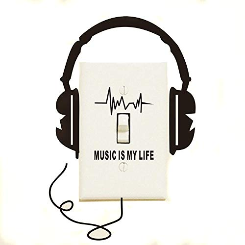 Alicemall Creative Headphone Music is My Life PVC Removable Switch Wall Sticker Decal Unique Light Switch Sticker (Black)