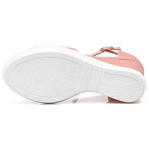 COOLCEPT Zapato Mujer Moda Cadenas Punta Abierta Peep Toe High Plataforma Verano Tacon de Cuna Sandalias Rosado