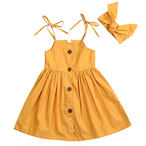 Happy Town 1-6 Years Toddler Girls Summer Button Strap Dress Princess Sundress (Yellow, 5-6 Years)