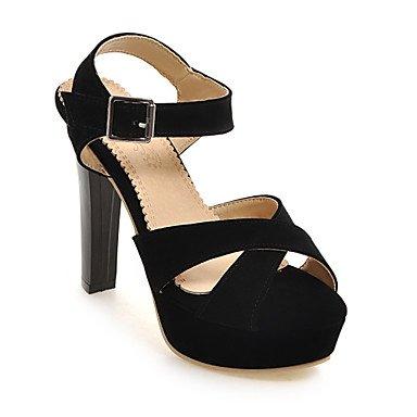 LvYuan Tacón Robusto-Zapatos del club-Sandalias-Informal-PU-Negro Rojo Almendra Black