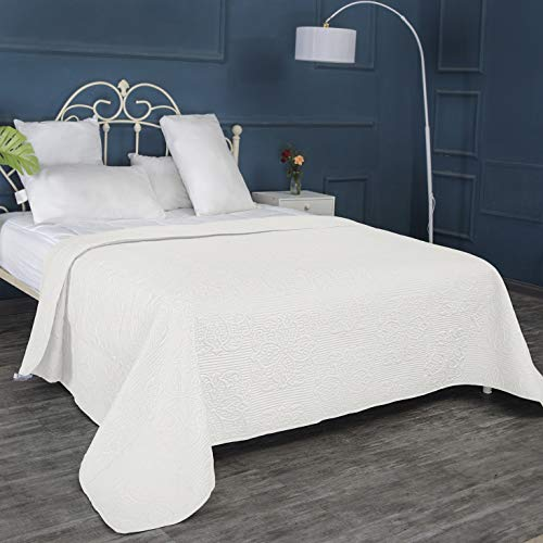 ALPHA HOME Bed Quilt Bedspread and Coverlet, King Size, Ivory