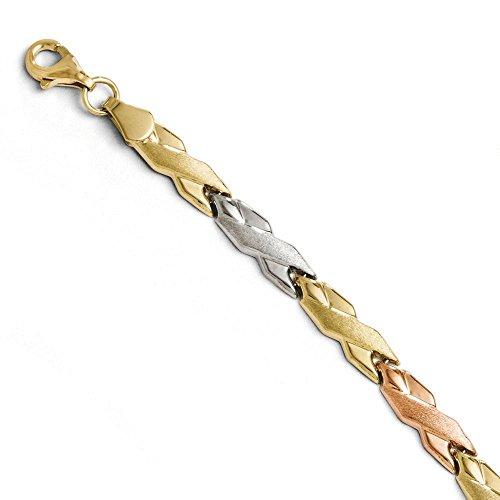 """10 k avec Rose et blanc rhodié Bracelet 7 """"Haute qualité-Or Or 9 Carats JewelryWeb que"""