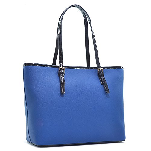 Dasein Women's Classic Designer Carry All Saffiano Faux Leather Tote Bag Shoulder Bag Work Bag (6553 Blue)
