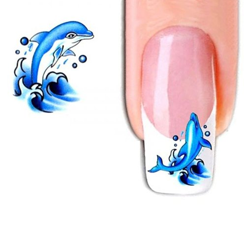 JYS365 2 Sheets Dolphin Pattern Nail Art Sticker Water Transfer Decals Makeup Manicure Set Bow -
