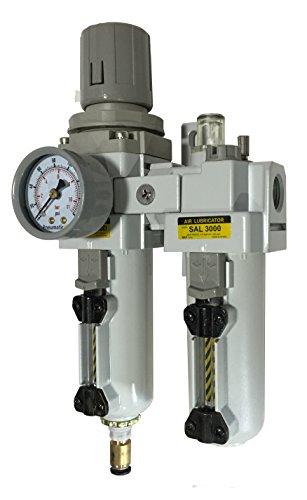 "PneumaticPlus SAU3010M-N03DG-MEP 2 Piece Compressed Air Filter Regulator Lubricator Combination, 3/8"" Pipe Size, NPT-Auto Drain, Metal Bowl, 10 μm with Gauge"