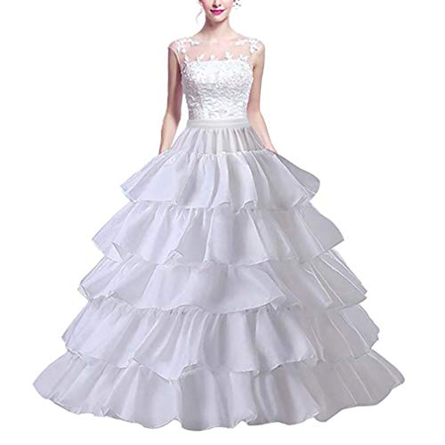 MeiLiMiYu Full Shape 6 Hoop Skirt Ball Gown Petticoat Underskirt Slip for Wedding Dress Adjustable Waist (White(4 Hoops))