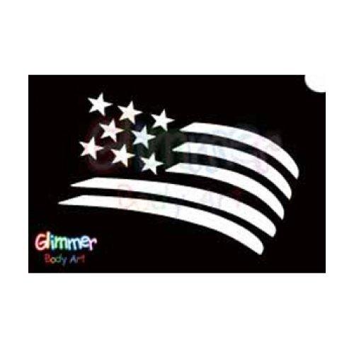 Amazon Com Glimmer Body Art Glitter Tattoo Stencils Usa Flag 5 Pack Childrens Art Paintbrushes Beauty