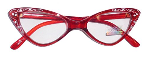 Rhinestone 1950'S Eyeglasses Retro Cat Eyeglasses Transparent Frames