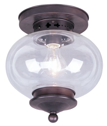 Livex Lighting 5032-07 Flush Mount with Hand Blown Clear Glass Shades, Bronze ()