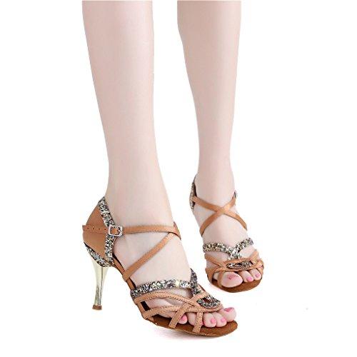 Misu Kvinners Peep Toe Sandaler Latin Salsa Tango Praksis Ballroom Dans Sko Med 3,3 Hæl Tan