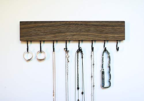 - SOLID WALNUT WOOD Wall Mount Jewelry Organizer/Necklace Handmade Holder Hooks Key Holder Hanging Stand Rustic Decor/Best gift idea / 8 black hooks bottom
