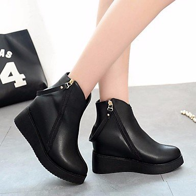 5 Comfort Heel US5 5 CN35 PU Black Round Casual For Women's RTRY Boots Shoes Boots Ankle Chunky Winter Booties Toe EU36 UK3 x0qBRTaI