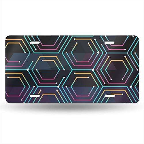 NVHBGIKL Neon Color Tech Pattern Personality Metal License Plate Decoration Card Aluminum 6