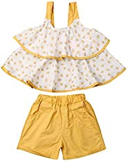 Toddler Kids Girl 2Pcs Clothes Set, Strawberry Layer Strap Vest Top+Solid Color Shorts Pants Summer Playwear O