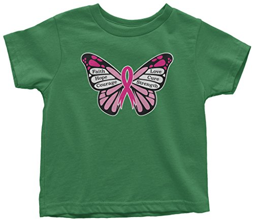 Threadrock Little Girls' Breast Cancer Awareness Butterfly Toddler T-Shirt 4T Kelly Green -