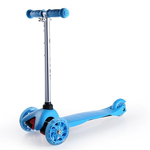 Kool KiDz Kick Scooter, Alloy Folding Scooter, Super-Tough Aluminum Stunt Kiddie Kick Scooter with Adjustable Handle T-Bar (Blue)