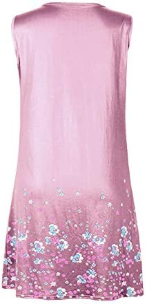 OMZIN Women's Party Dress Sleeveless Swing Casual Dress Short Printed Casual Dress Pink 2XL