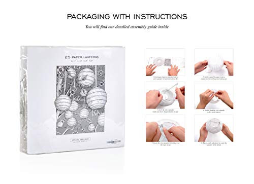Special Feelings 25 Pack White Paper Lanterns Set (Assorted Sizes of 6, 8, 10, 12 Inch) for Weddings Birthday Parties, Baby Showers, Classroom Decoration and More and More, by Special Feelings (Image #5)