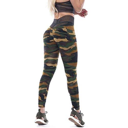 (CROSS1946 Women's High Waist Back Ruched Legging Butt Lift Yoga Pants Hip Push Up Workout Stretch Capris G-Camouflage, S)