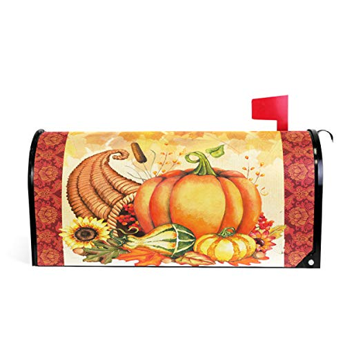 Wamika Autumn Pumpkin Sunflower Magnetic Mailbox Cover MailWraps, Fall Maple Leaves Mailbox Wraps Post Box Garden Yard Home Decor for Outside Standard Size 20.8