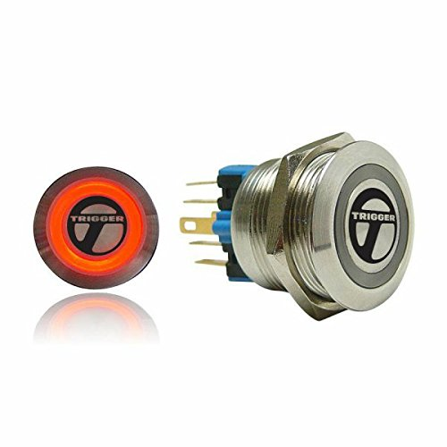 (AutoLoc Power Accessories 502 19mm Momentary Billet Button with Red LED Ring)