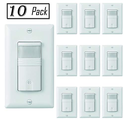 ECOELER Lighting Motion Sensor Wall Switches, PIR Motion Sensor Light Switch, Vacancy & Occupancy in Wall Sensor Switch, Neutral Wire Required, 1/8Hp Motor, Wall Plates Included, White, 10 Pack