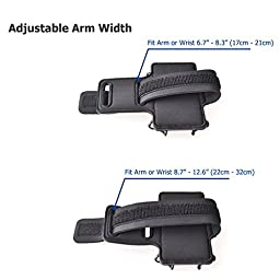 TFY Open-Face Sport Armband + Key Holder for iPhone 6 Plus / 6S Plus / 7 Plus, Black - (Open-Face Design - Direct Access to Touch Screen Controls)