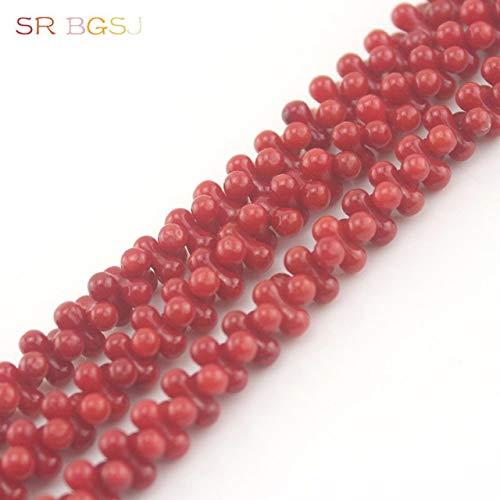 (Calvas 4x8mm Popular Beads Peanut Bone Shape Gems Stone Genuine Natural Coral Jewelry Making Beads Strand 15