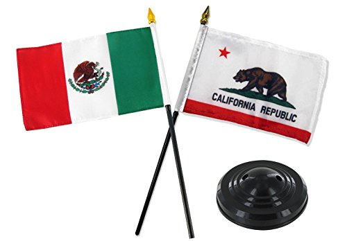 ALBATROS Cali California Republic State and Mexico Country Flag 4 inch x 6 inch Desk Set with Black Base for Home and Parades, Official Party, All Weather Indoors Outdoors -