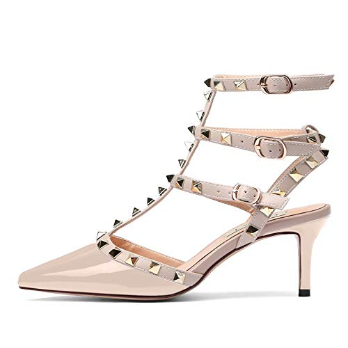 Chris-T Women s Sexy Studs Strappy Sandals Stilettos Middle Heels Pointed  Toe Shoes 8a7b5d22dae