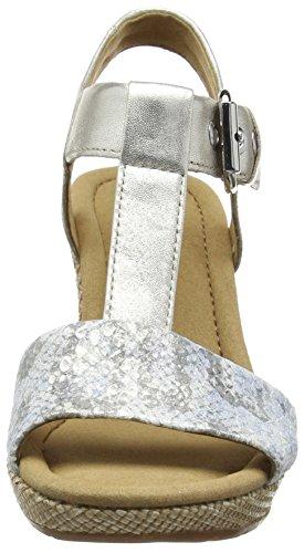 mit Karen Damen Keilabsatz Schlange Silber Leder Silberne Gabor Sandalen Tt17w7O