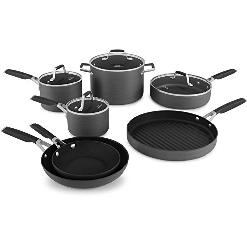 Select by Calphalon Hard-Anodized Nonstick 10-Piece Cookware Set with Bonus 12 inch Round Grill Pan