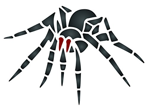 Halloween Spider Stencil - 4.25 x 3 inch (S) - Reusable Insect Bug Stencils for Painting - Use on Paper Projects Walls Floors Fabric Furniture Glass Wood etc. (Spider Halloween Stencil)