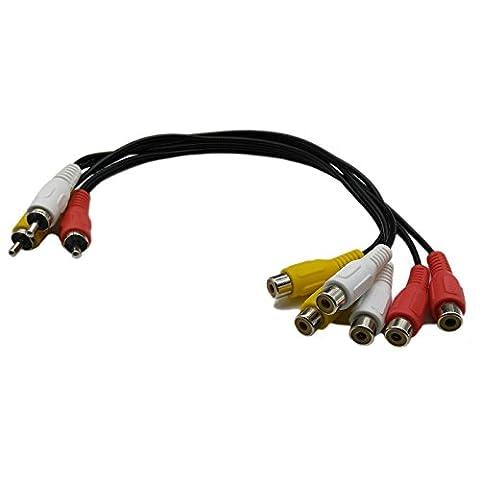 12 Inch 3 RCA Male Jack to 6 RCA Female Plug Splitter Audio Video AV Adapter Cable (Video Jack Splitter)