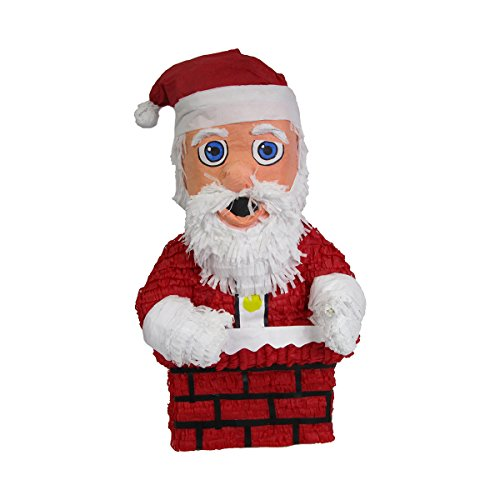 Santa Claus in Chimney Christmas Pinata, Party Game and Centerpiece Decoration