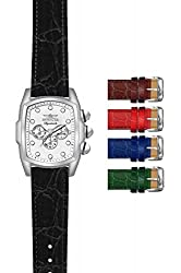 Invicta Signature Multi-Function Silver Dial Leather Mens Watch 7476
