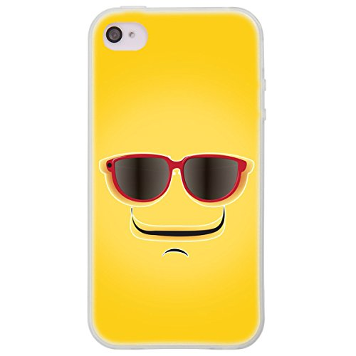 Ooh. Color 025604 _ hum017 Face Comic avec motifs Étui de protection bumper TPU souple en silicone pour Apple iPhone 4/4S Transparent